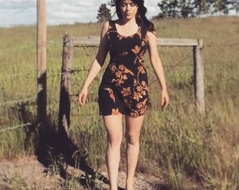 FLEURISSEZ Vintage Dress Autumn Colours Tribal Pattern Sun Dress
