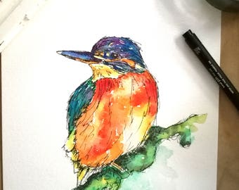 Kingfisher print, wildlife, birds, colourful, wall art, home decor, kingfisher gifts, kingfisher art, wildlife art, kingfisher painting,