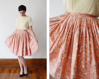 1950s Pink Floral Circle Skirt - XS