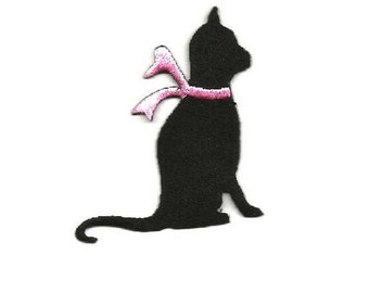 Cat - Kitten - Pet - Domestic - Black Silhouette - Embroidered Iron On Applique Patch - R
