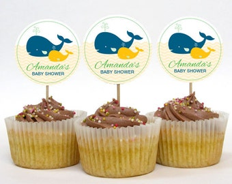 Personalized Whale Baby Shower Cupcake Toppers – Gender Neutral – DIY Printable – 2 Inch Circles (Digital File)