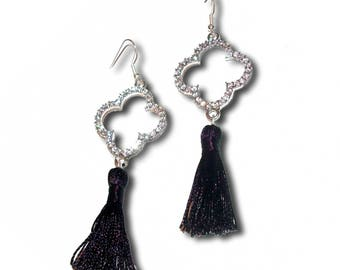FIOCCA black and silver tassel earrings