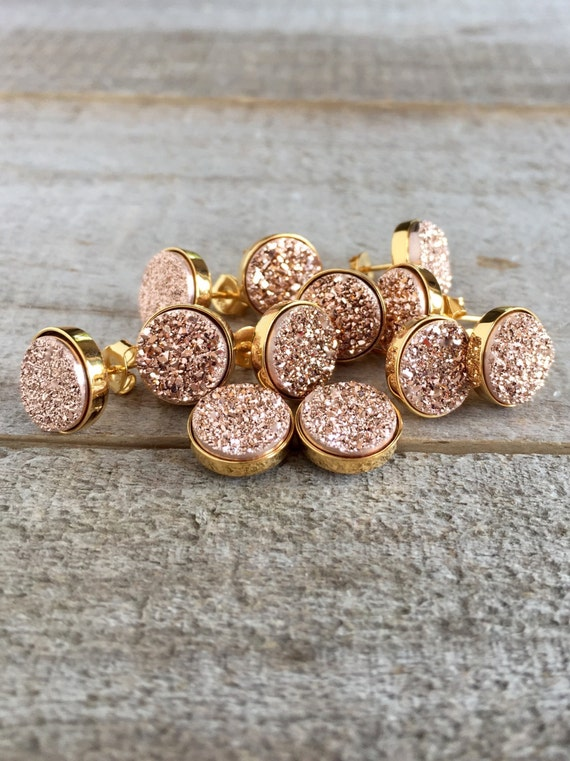 druzy resin mm express pink media jewelry rose of earrings flash shipping bridesmaid set gift stud gold sale
