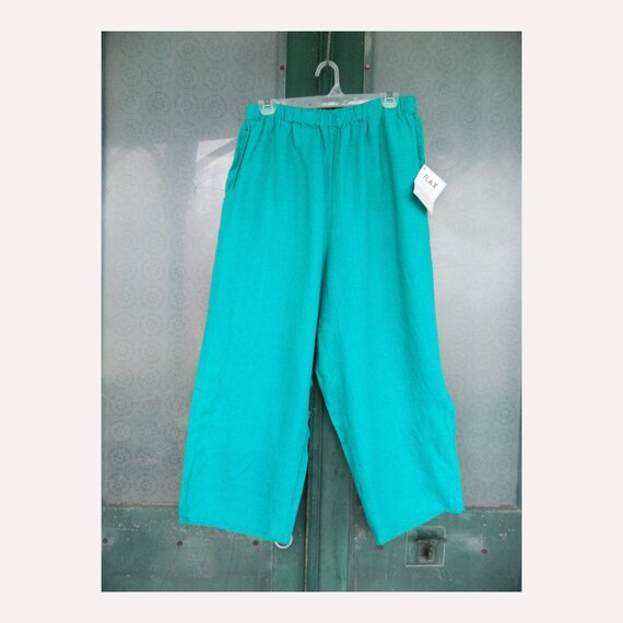 FLAX Engelhart Basic Floods Pants -M- Emerald Teal Green Linen NWT