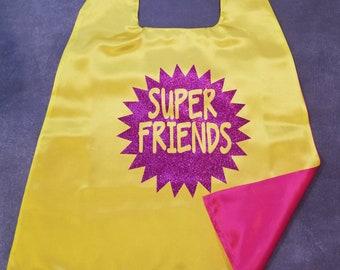 Super Friends Cape. Super Friends Superhero Cape. Cape. Cape for Kids. Satin Cape with Glitter-glitter doesn't shake off! Superhero Birthday
