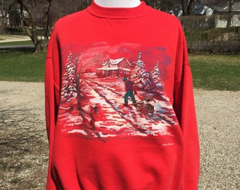 90s Northern Reflections winter homestead graphic How Dear sharing Traditions Family spellout Red pullover Sweatshirt tag sz M boy with sled