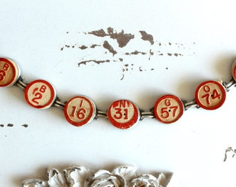 Bingo Bracelet Vintage wooden calling numbers teacher gift game parts pieces toys jewelry retro recycled up cycled assemblage steampunk