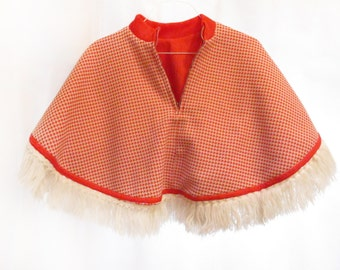Vintage 60's Red Reversible Girl's Cape