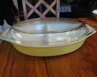 Vintage Mustard Yellow Pyrex Divided Casserole Dish with Lid