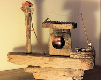 A Cold Winters Night - Driftwood Sculpture - with metal parts - Sale