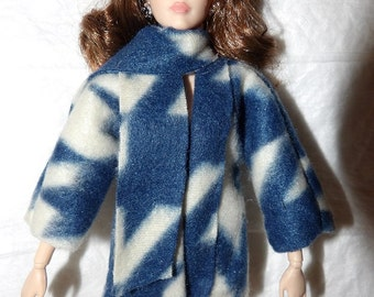 Blue & white print Fleece short coat and scarf set for Fashion Dolls - ed1002