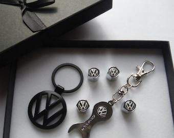 VW Volkswagen High Quality Gift Box Set Keychain Tire Cap