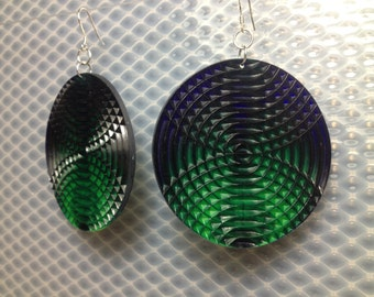 Fluorescent Green and Cobalt Blue big disk earrings.