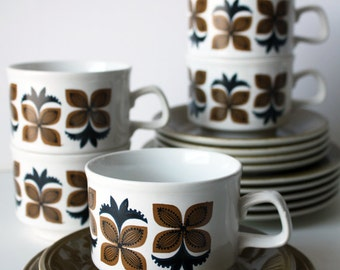 Staffordshire Ironstone Coffee Cup trios: Cup, Saucer and Side Plate. Brown Patterened Set.
