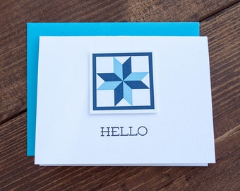 Hello. Quilt Letterpress Greeting Card