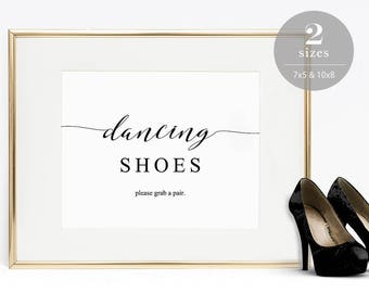 Dancing Shoes Sign, Dancing Feet Sign, Wedding Dancing Shoes Sign, Grab A Pair, Wedding Sign, Editable PDF, Instant Download #SPP007dss