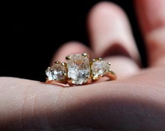 Size 5 14k Gold Diamond Ring, Raw Diamond Engagement Ring, Solid Gold Engagement Ring, Rough Diamond Ring, Raw Diamond, Avello, Graduation