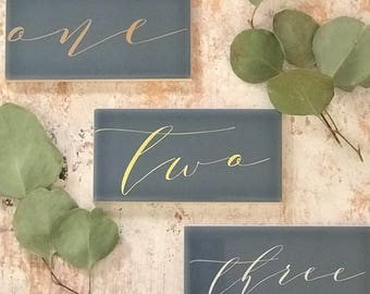 Custom Made, Ceramic Tile Table numbers, Dusty Blue