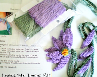 DIY Knit Jewelry - Lavender Daisy Lariat Necklace Knitting Kit - Loves Me