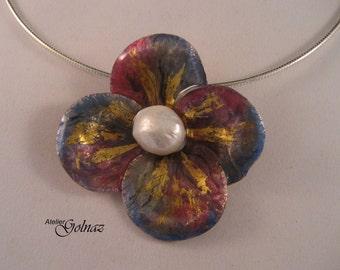 One of a kind handmade sterling silver, 24kt gold leaf, enamelled flower pendant