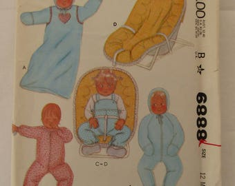 Vintage 1979 McCall's pattern #6888 includes 18 pattern pieces for newborn thru 12 months baby items - Overalls, Jumpsuit, Car Seat Cover
