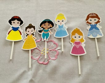 Cute Princess Cupcake Toppers Set of 12