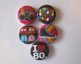 set of 5 I love the 80's themed Mini 1 inch magnets or 1.25 inch button magnets  you choose size