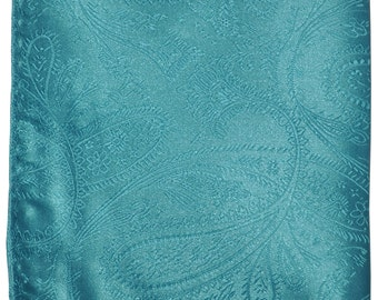 New Men's Polyester Paisley Turquoise Handkerchief, for Formal Occasions
