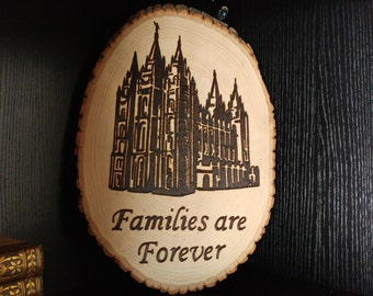 Families are Forever, Salt Lake Temple, Woodburned Sign, LDS Decor, Temple