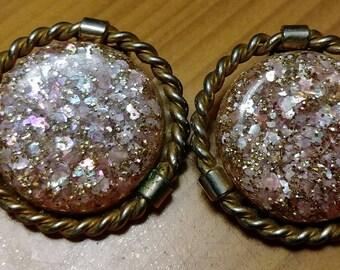 Rose glitter earrings vintage clip on earring statement earring