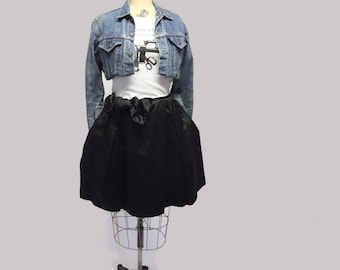 Retro Style Black TeaCup Skirt with Pockets XL