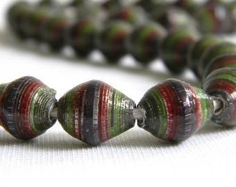 Paper Beads - Paper Bead Jewelry Supplies - Hand painted - Lot of 32 - #589