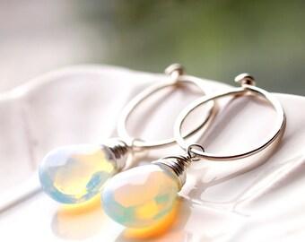 October Birthstone, Opal Dangle Earrings, Medium Hoops, Interchangeable Hoop Silver Earrings