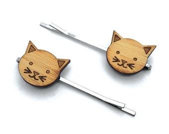 Little Kitty. Cat Hair Pin. Hair Pin. Hair Clip. Hair Accessories. Hair Bows. Barrettes. Hair Barrettes. Wood Hair Pin. Kids Gift. For Her.