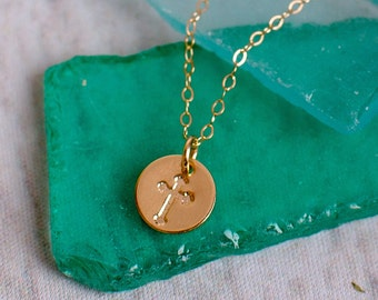 Tiny Gold Cross Necklace - Dainty Disc with Cross Pendant - Great for Layering, Simple Cross