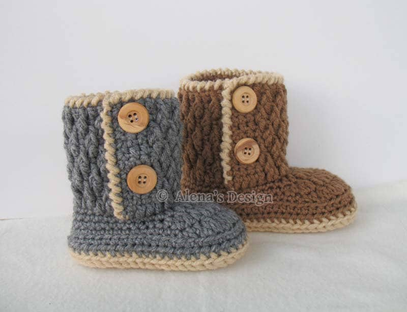 Crochet Pattern 107 For Two Button Toddler Booties Crochet Boot