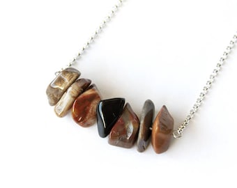 AZ Petrified Wood Necklace Sterling Natural Arizona Agatized Wood Fossilized Wood Jasper Brown Large Chunky Nugget Chip Natural Stone #18583
