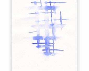 Original watercolor sketch. Subtle blue strokes painting. Modern minimalist wall art.