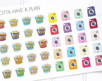 Planner Stickers Hand Drawn Laundry Basket, Washing Machine for Erin Condren, Happy Planner, Filofax, Scrapbooking