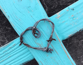 Rustic Reclaimed Barn Wood & Barbed Wire Heart Wall Cross