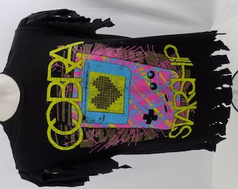 Custom Distressed 80s style Gameboy  COBRA STARSHIP rock n roll T SHIRT