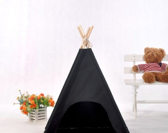 Black  canvas dog  teepee with padded mat