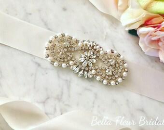 Pearl Crystal Sash, Wedding Dress Belt, Bridal Accessories, Bridesmaid Sash, Prom Sash, Vintage Wedding Sash, Custom Sash, Bridal Party