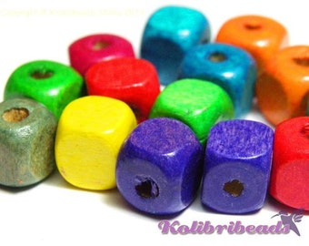 50x Wooden Cube Beads 10 mm - Mixed Colours