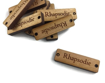 """25 NARROW Wood Tags/0.375""""x1.25""""/Solid Wood/Laser Engraved/Laser Cut"""