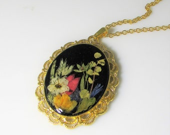 Flowers at Night , Pressed Flower Pendant, Real Flower Necklace,  Resin (3021)