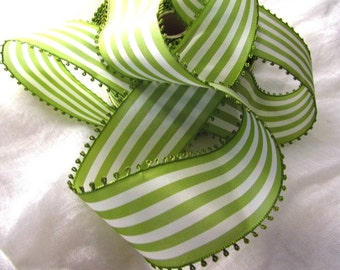 Vintage Picot Ribbon, Green and White Striped Ribbon, White and Green Taffeta Ribbon, Wide Ribbon, Picot Edge, Vintage Millinery, Spring
