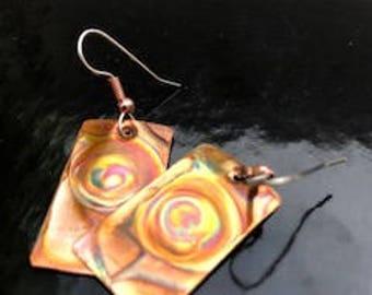 SPLASH OF COLORS ~ Rectangular Copper Earrings