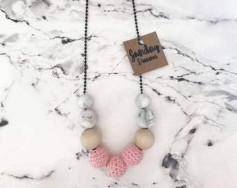 """SALE! Pink Crochet necklace. """"WAS 22 NOW 15"""""""