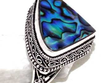 Abalone Shell Vintage Style Handmade  925 Silver Plated Ring A 117